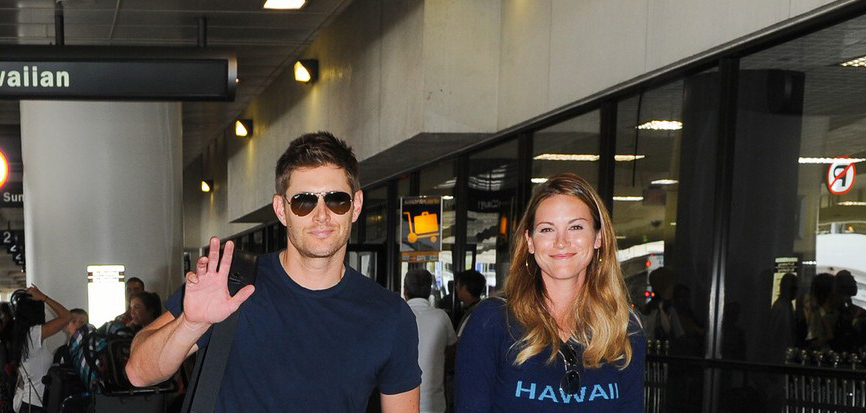 Jensen, Danneel and Baby JJ arriving at LAX 08/17/2013